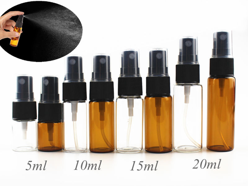 20pcs/lot 5ml 10ml 15ml 20ml Glass Mist Spray Bottle Empty Perfume Glass Vials Refillable Perfume Atomizer Travel Accessories