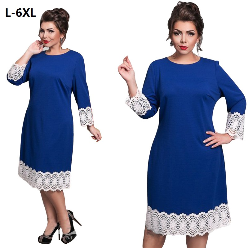 Plus Size Dresses For Women 4XL 5XL 6XL Elegant Lace Patchwork Plus Size Women Clothing Blue O-Neck Long Sleeve Casual Dress