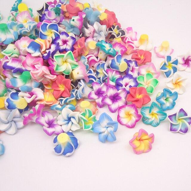 50 pc/lote 15mm pequeña arcilla polimérica Fimo Plumeria frangipani flor cuentas Multicolor mezclado Diy pulsera Hawaii joyería artesanal fabricación