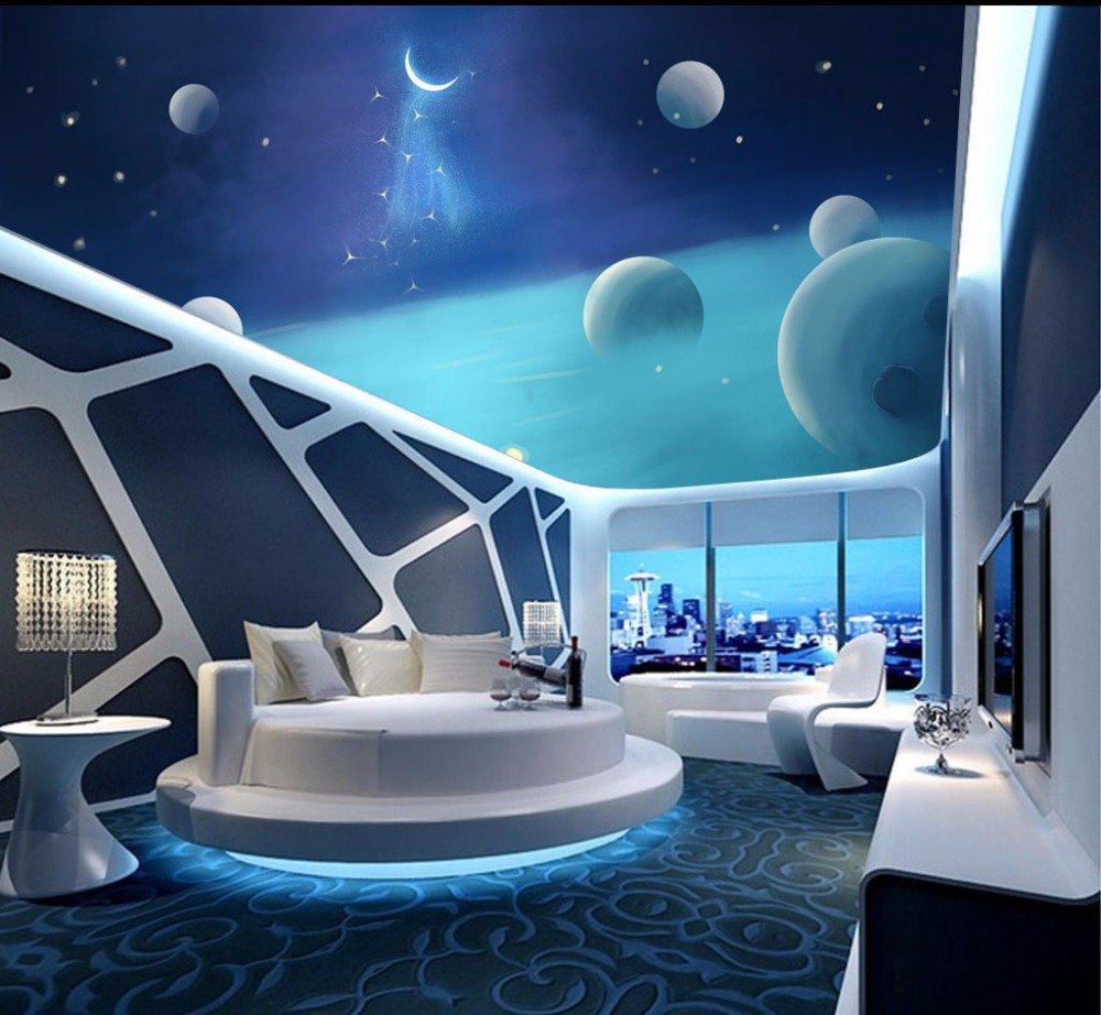 Outer Space Moon 3d Ceiling Wallpaper For Hall Living Room