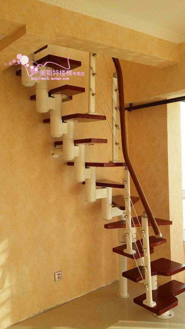 Small Attic Stair Tread Staircase Around A Space Saving