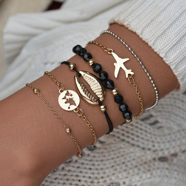 Misscycy Bohemian Alloy Aircraft World Map Shell Bracelets For Women