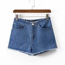 2017 летние шорты женщин случайные прямые джинсы женщина высокой талией джинсы твердые джинсовые шорты тонкий женская одежда
