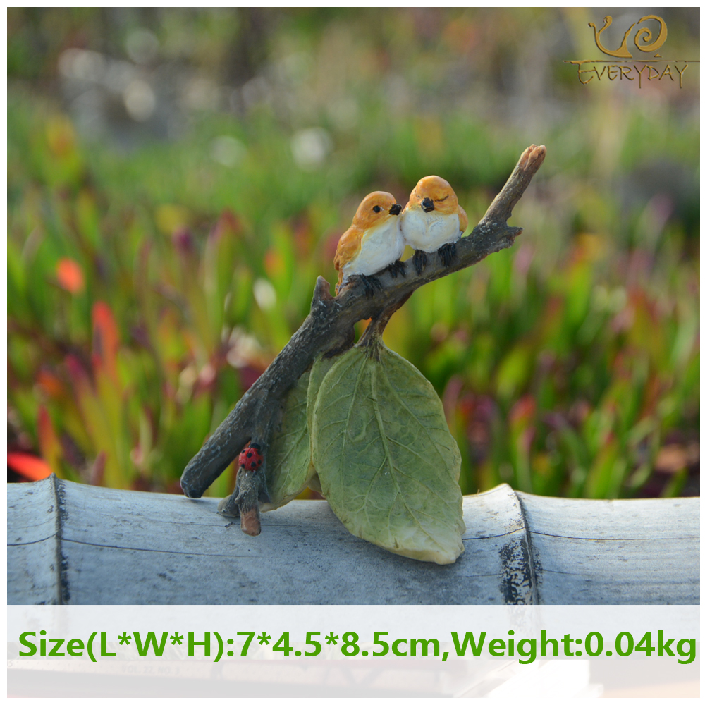 Everyday Collection miniature garden leaf branch bird figure fairy garden frog stakes tabletop decoration yard and garden decor