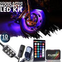10pc Motorcycle LED UnderGlow Lights Pod Kit Kawasaki Vulcan S 1700 w Power Switch
