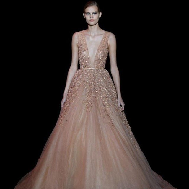 045dcc9f7263 Sexy Elie Saab Evening Dresses Long 2016 Deep V Neck Tulle Backless Prom  Gowns Beaded Peplum Pearls Formal Dresses Evening Wear