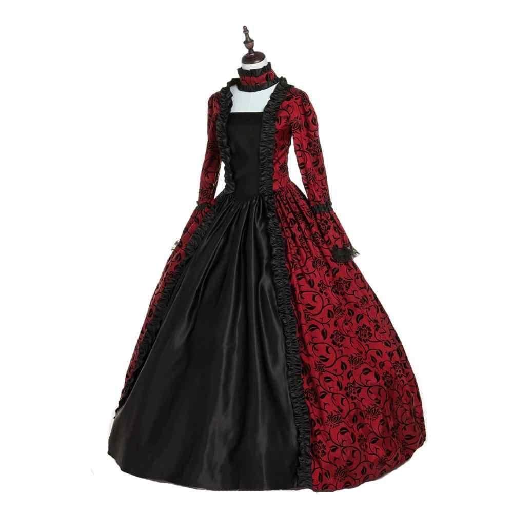 Período Georgiano vitoriano Gótico Vestido Halloween Masquerade vestido de Baile Reconstituição Vestuário