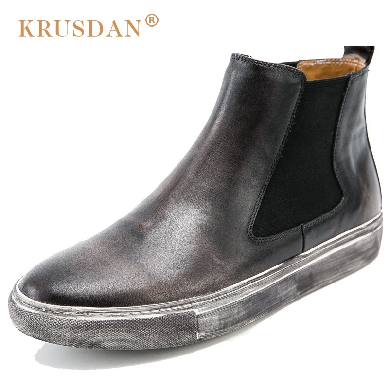 KRUSDAN Classic Vintage Man Handmad Flat Platform Shoes Genuine Leather Round Toe Men's Cowboy Martin Chelsea Ankle Boots купить