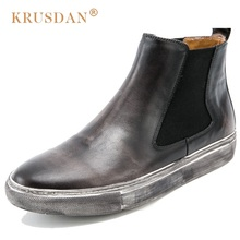 KRUSDAN Classic Vintage Man Handmad Flat Platform Shoes Genuine Leather Round Toe Men's Cowboy Martin Chelsea Ankle Boots