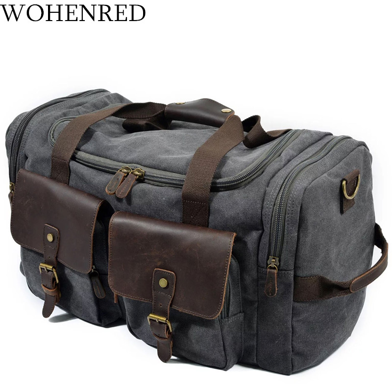 Vintage Military Men Travel Duffel Bag Multi pocket Canvas Overnight Bag  Leather Weekend Carry on Big Shoulder Bags Tote Luggage-in Travel Bags from  Luggage ... 36b4b4292e3fd