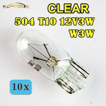 Flytop 10 pçs clear 504 w3w t10 vidro 12 v 3 w w2.1x9.5d cunha sem tampa único filamento lâmpadas de carro indicador automóvel