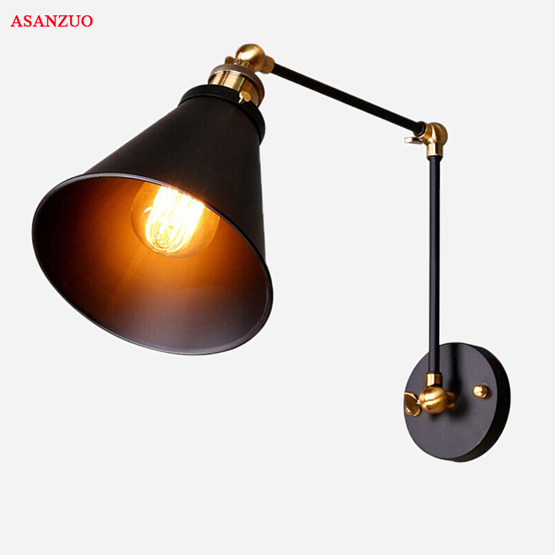 Loft Industrial adjustable long swing arm Wall lamp Fixture Vintage Edison bulb wandlamp lamparas de pared lights lampen sconce in LED Indoor Wall Lamps from Lights Lighting