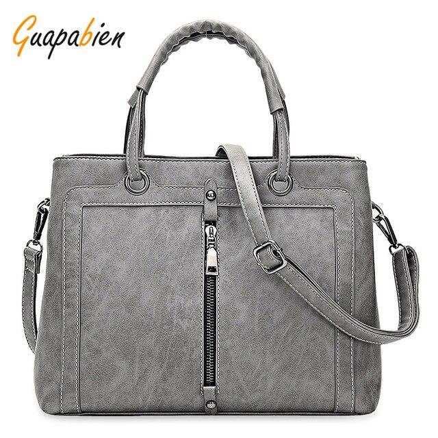 Guapabien Fashion Brand Women Leather Handbag Zipper Tote Female OL Wedding  Party Shoulder Bags Ladies Leather 481fd36f6451e