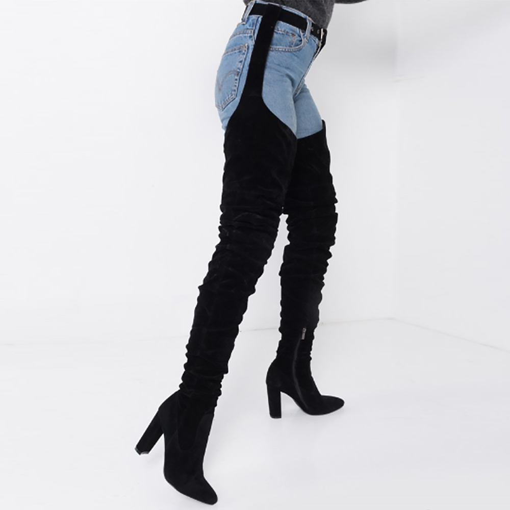 5cbfc519c1a Perixir Rihanna Style Over the Knee Boots for Women Shoes Pointed Toe  Pleated Suede High Heels Long Thigh High Boots Black Sexy-in Over-the-Knee  Boots from ...