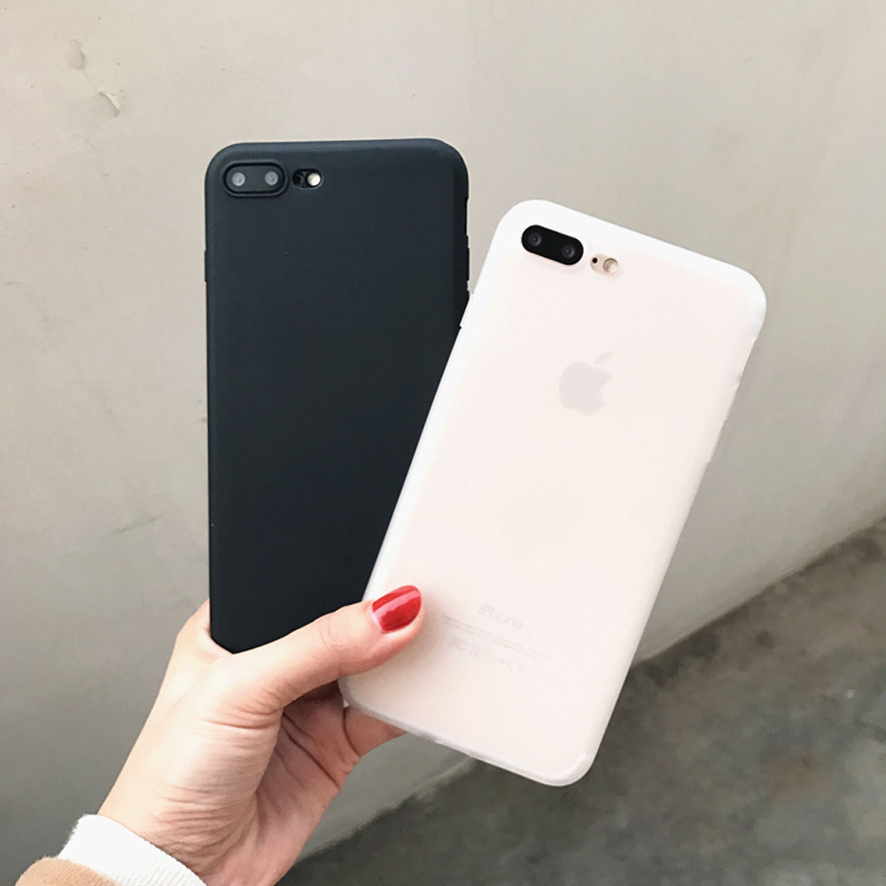 Cool Simple Fashion Solid Frost Color Milk White Matt Black Soft Slim Back Cover For IPhone 7