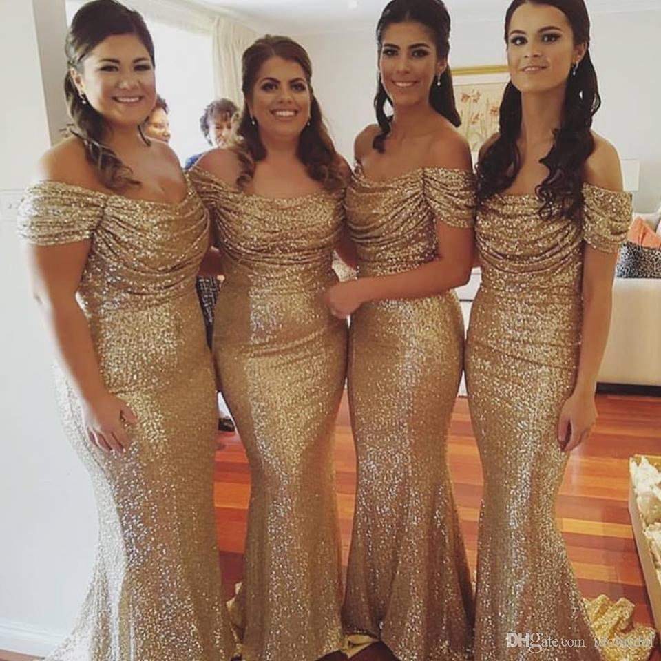 2019 Cheap Mermaid Gold Sequin   Bridesmaid     Dresses   Scoop Off Shoulder Wedding Party Gowns Maid of Honor   Dress