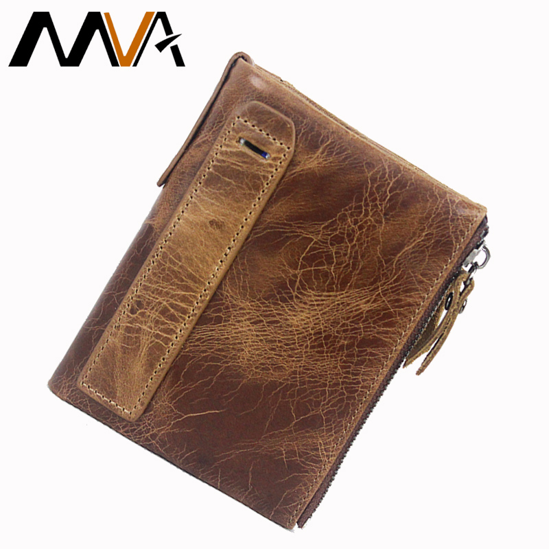 MVA Genuine Leather Wallet Men Wallets Clutch Zipper Short Men Fold Wallet Vintage Coin Pocket Purse Wallets Male Card Holder banlosen brand men wallets double zipper vintage genuine leather clutch wallets male purses large capacity men s wallet