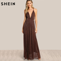 SHEIN Spaghetti Strap Glitter Overlay Dress Brown Deep V Neck Backless A Line Sexy Maxi Dress