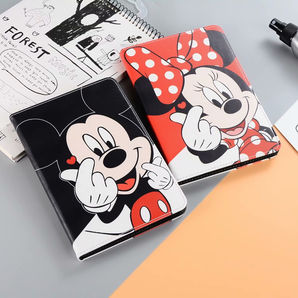Cartoon Cute Mickey Minnie Mouse Donald Daisy Duck Protective For Apple iPad 2 3 4 Case Stand Leather Shell Full Cover in Tablets e Books Case from Computer Office