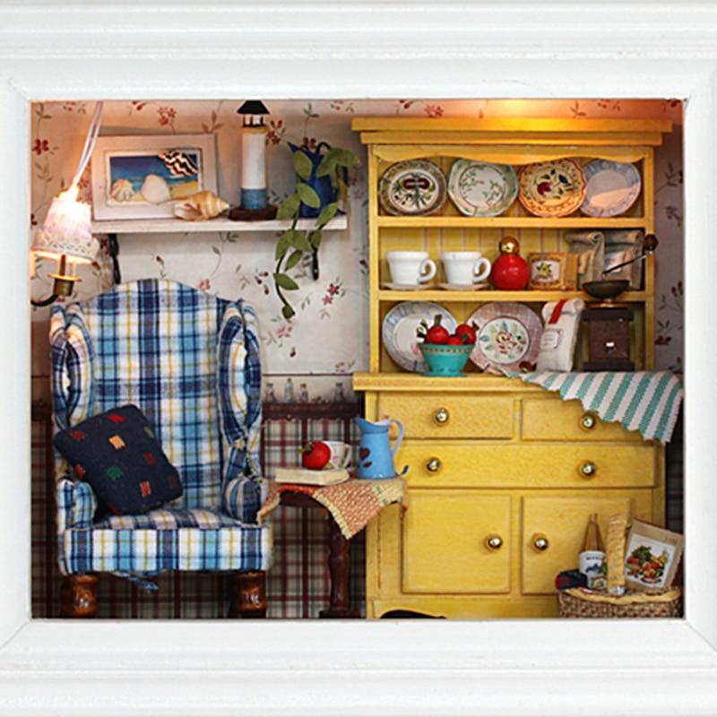 DIY casa de casas de muñecas muñecas de madera miniatura Kit muebles de juguetes para niños regalo W001 loca