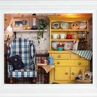 DIY casa de muñecas de madera casas de muñecas miniatura muebles Kit de juguetes para niños  regalo loca W001
