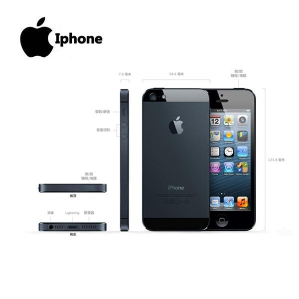 100% Factory Original Iphone 5 Sealed box Unlocked Apple Cell phone 16GB 32GB ROM 16GB 32GB 64GB IOS 4.0 inch 8MP WIFI GPS Used 3
