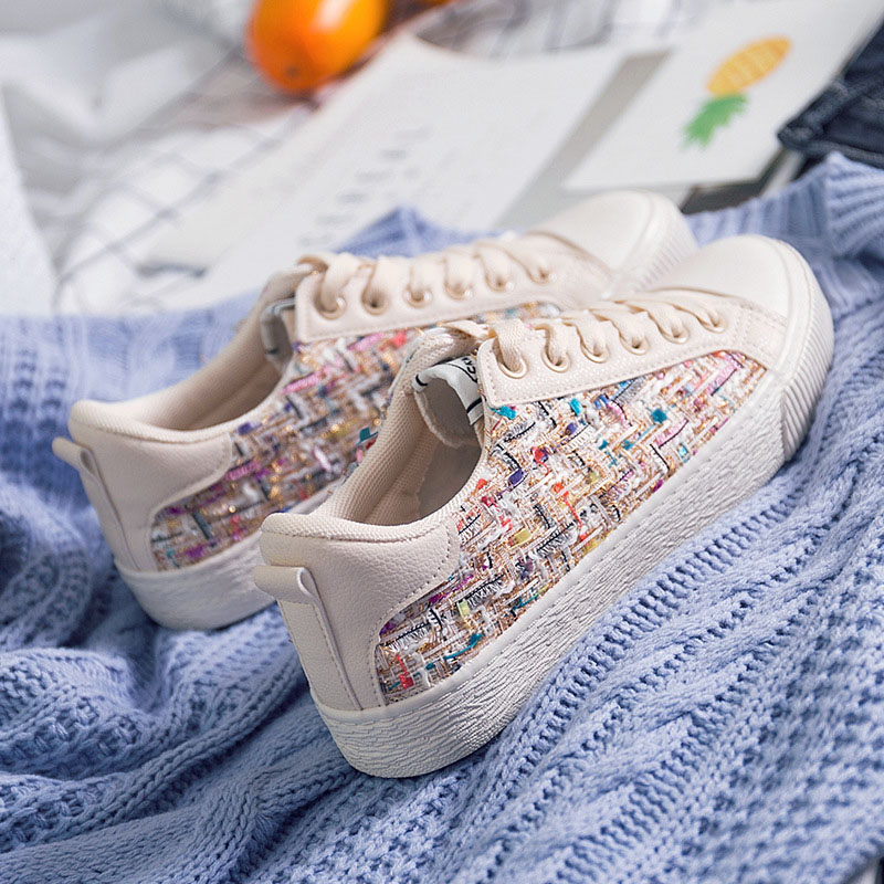 Jookrrix 2018 Spring Fashion Retro Lady Casual White Shoes Women Sneaker Leisure Canvas Shoes Flats Cross-tied Lace Up Knitting renben women canvas shoes 2017 fashion flats women casual white shoes breathable canvas lace up candy colors shoes 6e06
