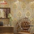 Lujo Clásico Papel de Pared Decoración Para El Hogar Wallpaper Fondo de La Pared revestimiento de Paredes de papel Pintado del Damasco Floral de Oro 3D de terciopelo Salón