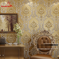 Luxo Clássico Papel de Parede Do Damasco Home Decor parede do Fundo Da Parede Papel De Parede Floral Dourado Wallcovering 3D veludo Papel De Parede Sala de estar