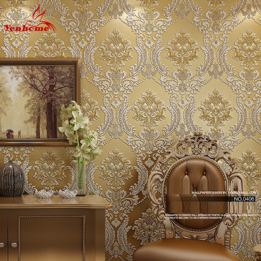 Luxury classic wall paper home decor background wall damask wallpaper golden floral wallcovering 3d velvet wallpaper