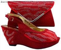 Doershow Fashion design italiaanse schoenen en bijpassende tassen voor bruiloft, Nigeria ROOD voor Afrikaanse dame overeenkomen de schoenen! HZL1-4