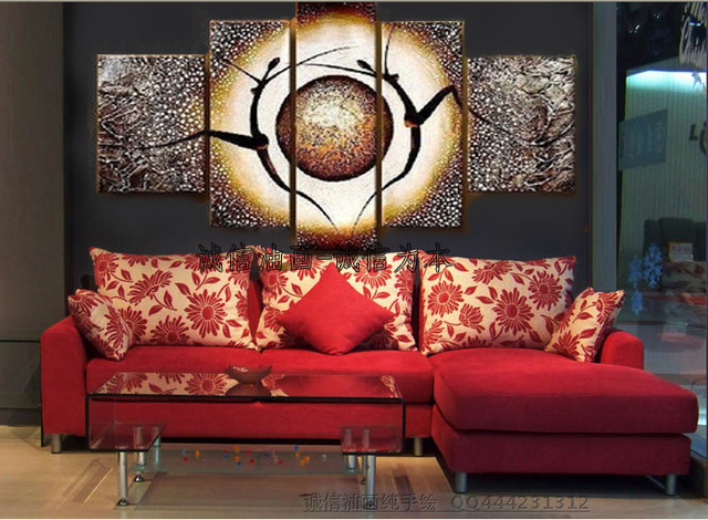 Hand Painted Modern Home Decorative 5 Pieces Canvas Art Oil Painting ...