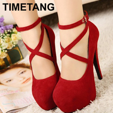 Hot Selling Women Pumps Platform Thin Heels 14cm Cross Strap Women Shoes Fashion High Quality Sexy High Heels Size 34-42