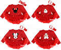 Red Long Sleeves Bodysuit Jumpsuit Red Pettiskirt Baby Dress Headband NB-18M MAJS0081