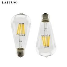LATTUSO Vintage COB E27 LED Lamp Edison Lampada Bulb AC 220V ST64 Filament Light 2W 4W 6W 8W Retro Ampoule