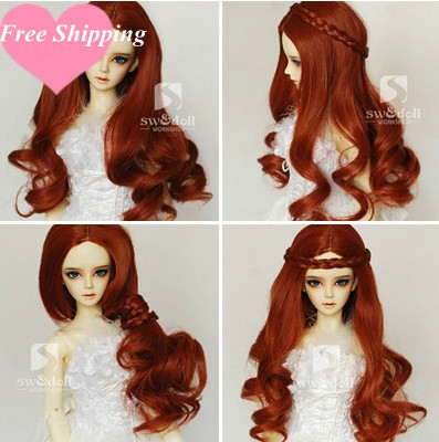 AILAIKI Most Fashionable 1/3 1/4 BJD.SD High-temperature Wire detachable Curly Wig Top-Quality Hair For BJD Doll 5Color Toy 1 piece 15cm 100cm brown coffe black light gold color heat resistant curly wave wig hair for 1 3 1 4 bjd diy
