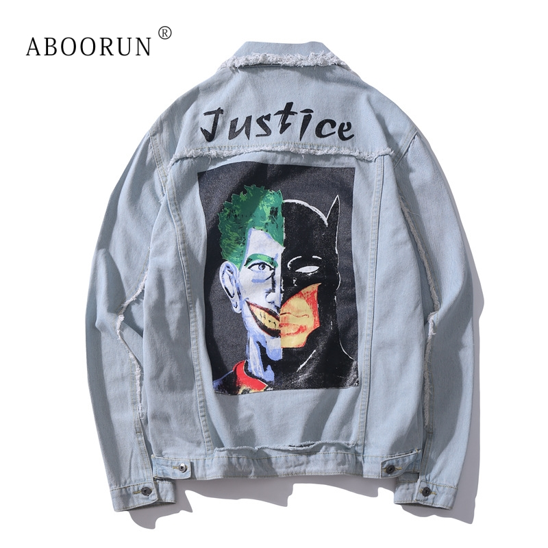 Automne Pour Clown Blue Hommes Denim Hip Aboorun Mâle Mode Imprimé Manteau Hop Printemps Streetwear Yc2002 De Veste vSOUU0xw