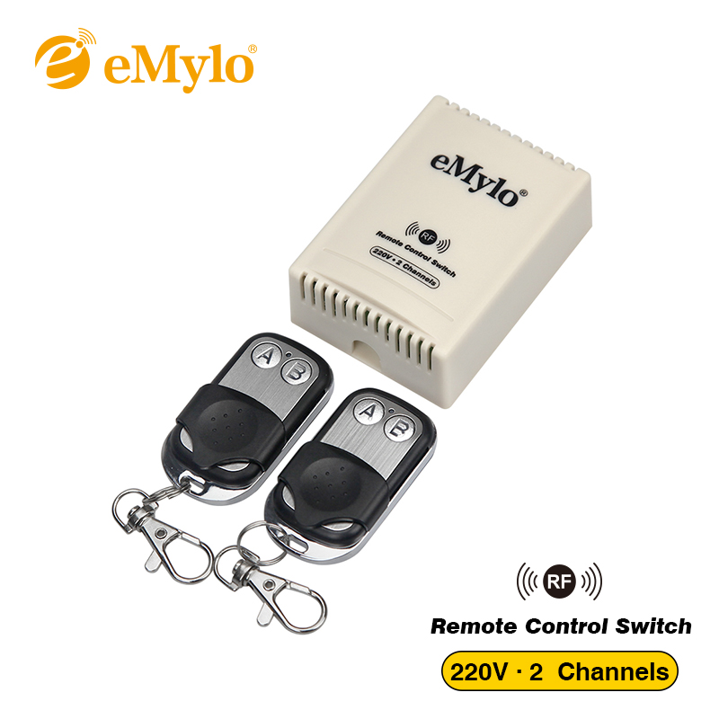 eMylo AC 220V 1000W 10A 2-Channels Relay Smart Wireless Remote Control Switch RF 433Mhz 2X Transmitter Intelligent Momentary brand 2 channels acoustic remote control switch box 220v 10a relay wireless remote switch app android