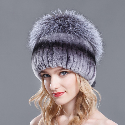Luxury New Style Real Fur Warm Hat For Women Top Natural Fur Winter Beanie Genuine Rabbit