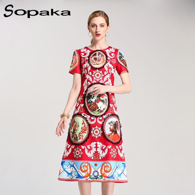 Midi Women Dress High Quality 2018 Spring Latest Red Color With Floral Printed Lace Vintage Runway Designer Women Dresses