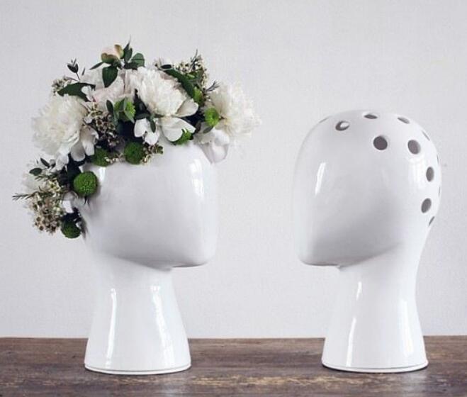 Tête humaine créative blanc noir décoratif vase en céramique sans fleur maison modèle chambre décoration ornements-in Statues et sculptures from Maison & Animalerie    1