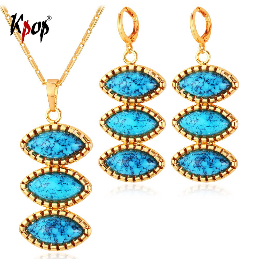 Kpop Crystal Jewelry Set Boho Jewelry Blue Stone Necklaces