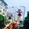 Sailor moon menina transparente capa tpu soft case para iphone 6 6 s 6 mais 6 s plus coque shell meninas que funcionam para iphone7 7 mais