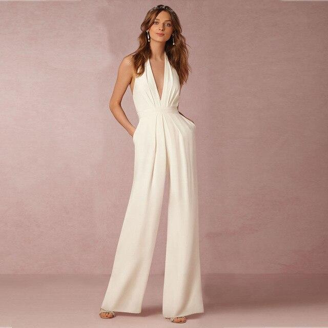 c86fc4a870765 Femmes Sexy Sans Manches Bandage Moulante Dos Nu Combinaison Barboteuse Pantalon  Soirée Clubwear Blanc Élégant Combinaison