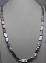 HOT SELL - S3303 Gray Rectangle Freshwater pearl long Nacklace 10x18mm 31INCH -Top quality shipping(China)