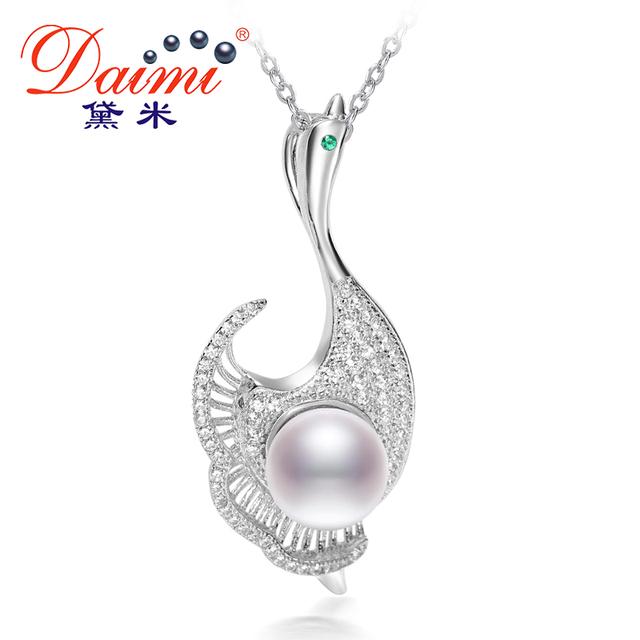 Daimi 2017 novo design estilo pearl pendant 7-8mm branco pérola colar de pingente de 925 jóias de prata a dança cisne