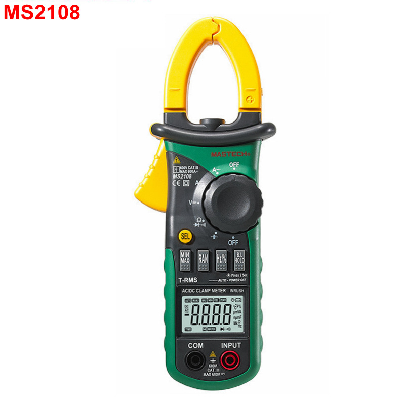 Mastech MS2108 Digital Clamp Meter True RMS LCD Multimeter AC DC Voltmeter Ammeter Ohm Herz. Duty Cycle Multi Tester