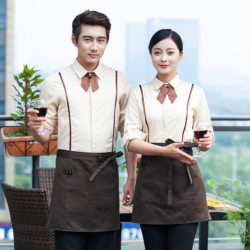 Hotel Overalls Uniform Restaurant Waitress Long Sleeve Hotpot Work Wear Catering Cafe Cake Shop Breathable Waiter Uniforms H2350