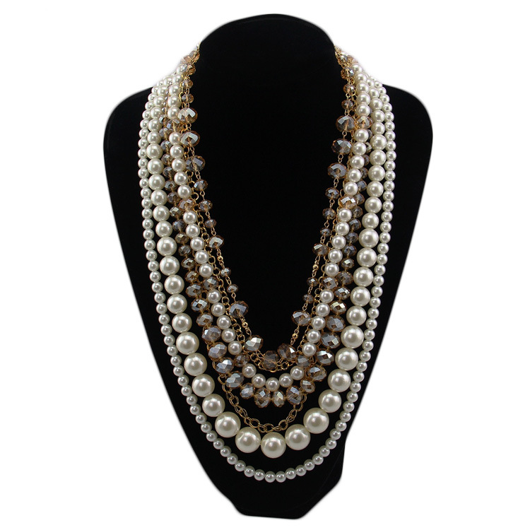 Large pearl  long crystal pearl cluster necklace,