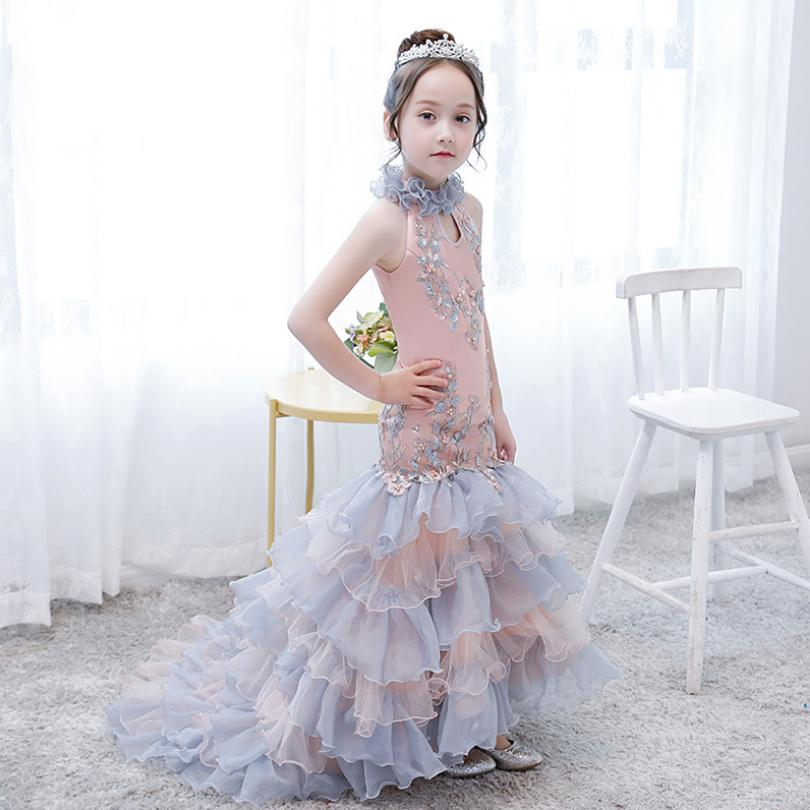 Kids Clothes Mermaid Princess Dress Girl Long Cheongsam Fashion Evening Dresses Wedding Party Gown Appliques Dress Vestidos Y486-in Dresses from Mother & Kids    1